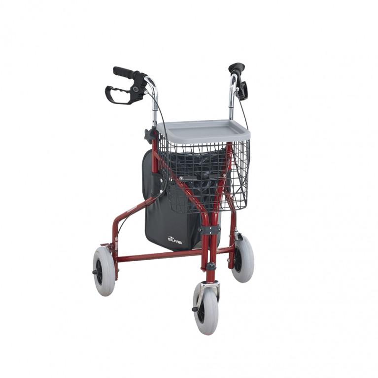 Andador ROLLATOR 3 RUEDAS. Aluminio anodizado. Con ruedas, canasto y bandeja porta objetos.